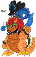 Bowser and Lucario by KirinWorks