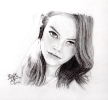 Pencil sketch of Emma Stone by chaseroflight