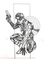 Winter Soldier Ballpoint Con Sketch by DrewEdwardJohnson