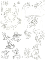 OLD pokemon sketches by SUNgoddessOKAMI
