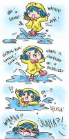 GJ Mishaps- Little Juvia and not so little puddle by Kasugaxoxo