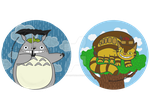 Totoro and Cat Bus Buttons by Soseiru