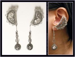 Steampunk Silver Moon ear cuffs by Meowchee