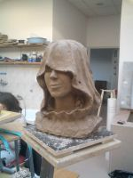 Bust of 'Ironic smile'during the sculpting by PiotrHarold