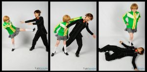 Persona 4: Chie Beating Up Yosuke by dahowbbit