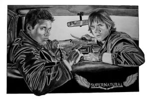 Supernatural, Sam and Dean by Thessa-drawings