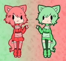 (CLOSED) Point Adoptables: Twins by Cutekokoro