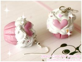 Heart Cupcake Earrings by Fluffntuff