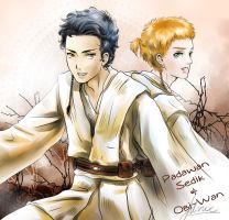 SW - Padawan Sedik and Obi-Wan by drifting-willow