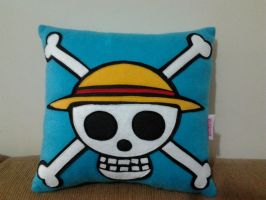Handmade Anime One Piece Blue Skull Flag Pillow by RbitencourtUSA