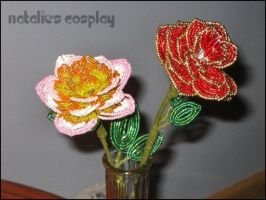 Pink French Beaded Rose by Natalie526