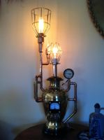 Steampunk Pressure Vessel Lamp Detail by jimdavidson3