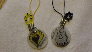 Heart Gold and Soul Silver cellphone charms by HotaruTenshi