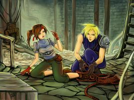 FFVII Moments: Cloud helps Jessie escape by SophieBrigitteXD