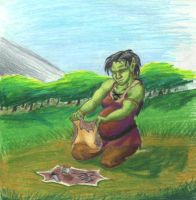 Orc Mother with background by weirdlet