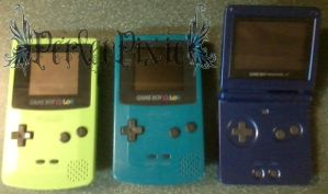 Two Gameboy Colors and a Gameboy Advance SP by PerlerPixie