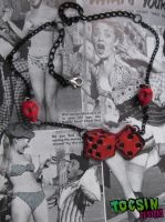 DICE AND SKULLS ROCKABILLY PIN UP NECKLACE by TocsinDesigns