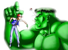 Ash Ketchum vs Hulk by LeadApprentice