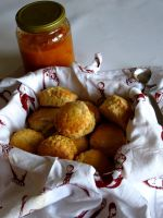 Scones and apricot jam by spacedlaw