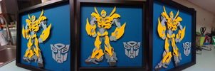 Commission:  Bumblebee Shadowbox by The-Paper-Pony