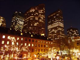 Quincy Market Buildings Night by st112570
