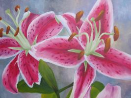 Stargazer lillies by KittyNamedAlly