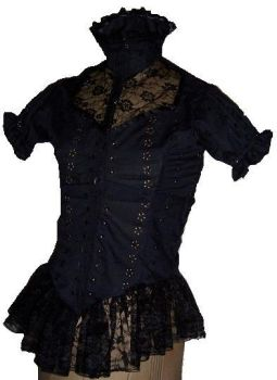 High collared Victorian blouse by Romance-Le-Noir