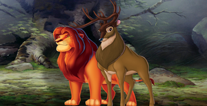 Disney Crossovers: Mufasa and Bambi's Father by MrAngryDog
