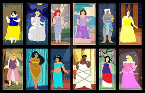 Plus Size Princesses with backgrounds by ColdHeartedCupid