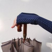 Navy Fingerless Gloves , Arm warmers with whie dot by WearMeUp