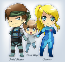 Chibi Snake+Samus,Little Wolf by ShadowSythe13