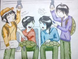 Turtles in the subway by MoonSSasori