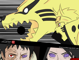 Naruto and Kurama vs Obito and Madara by SleepingSandman
