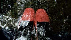 Her Pink Penny Loafers Darkly Visible Underwater by peerlesspenny