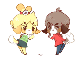 :animated: isabelle + digby booty dance by mushuroom