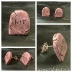 Pink Tombstone Earrings (For Sale) by SpookyCandyTheater