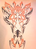 black and orange tribal design by gbftattoos
