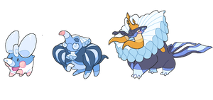 THE WATER STARTERS Eledew, Eleduke and Tusking by GalifiaStudios