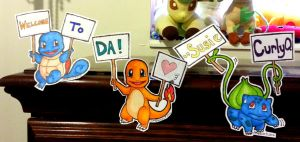 Pokemon Paper Dolls #001, 004, 007 - Welcome Sign by SusieCurlyQ