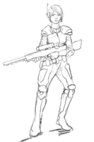 Quick sketch - Female sniper by Adzerak