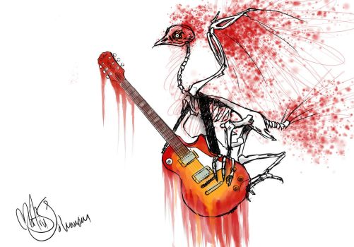 While my guitar gently Bleeds by RoninRaimi