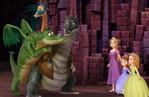 Sofia, Amber and Rapunzel meet Three Dragons by montey4