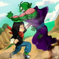 Android 17 vs Piccolo by smokeragon
