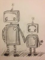 Mother and daughter robots by thedevilhaswings