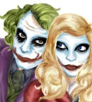 The Joker and Harley Quinn by porcelain-moon