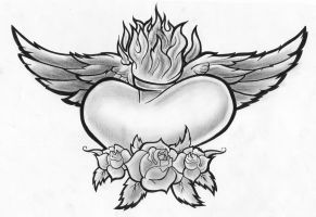 heart wings roses by PorkHunt