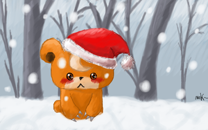 Teddiursa in Christmas snow by minoucha-cachemire