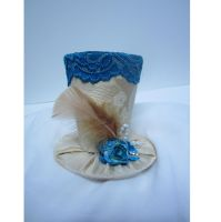 Gold and Turquoise mini top hat by MelissaRTurner