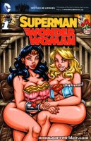 Lingerie Wonder Woman + Supergirl sketch cover by gb2k