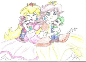 PeachxMario and DaisyxLuigi by xDrawingWizardx
